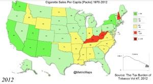 Cigarette sales per capita, 2012.