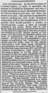 Alta California article on use of Mercury at Comstock Lode, reprinted in Jan. 20, 1890, Boston Evening Transcript.