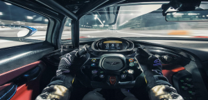 Driver's view from inside Aston Martin Vulcan.