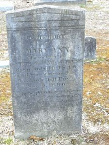 Gravestone of Mary Ann Young, which details her death at Boykin Mill Pond, May 6, 1860.