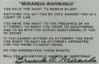 Miranda card signed by Ernesto Miranda.