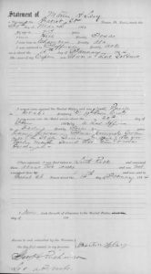 First page of Henry Martin Lary's statement made at March 30, 1864, Gratiot Street Prison, St. Louis. Click to embiggen.