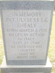 Gravestone for Pvt. Ulysess S. Shealy.