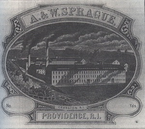 Logo of A & W Sprague Co., showing Cranston, RI, textile plant.