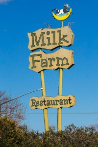 Old Milk Farm Restaurant sign, Dixon, Calif.